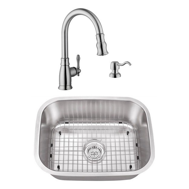 CAHABA CASC0043 23 INCH 18 GAUGE STAINLESS STEEL SINGLE BOWL BAR SINK WITH GOOSENECK PULL OUT KITCHEN FAUCET AND SOAP DISPENSER
