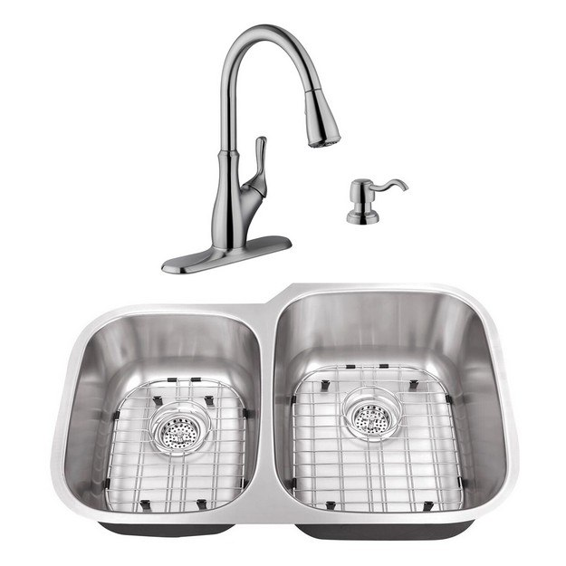 CAHABA CASC0056 32 INCH 16 GAUGE STAINLESS STEEL DOUBLE BOWL 40/60 KITCHEN SINK WITH GOOSENECK KITCHEN FAUCET AND SOAP DISPENSER