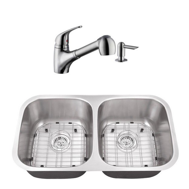 CAHABA CASC0058 32 INCH 16 GAUGE STAINLESS STEEL DOUBLE BOWL 50/50 KITCHEN SINK WITH LOW PROFILE PULL OUT KITCHEN FAUCET AND SOAP DISPENSER