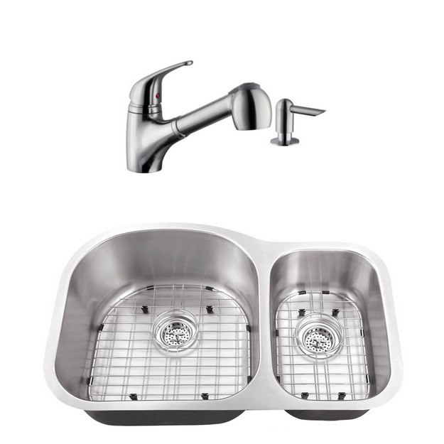 CAHABA CASC0062 32 INCH 16 GAUGE STAINLESS STEEL DOUBLE BOWL 70/30 KITCHEN SINK WITH LOW PROFILE PULL OUT KITCHEN FAUCET AND SOAP DISPENSER