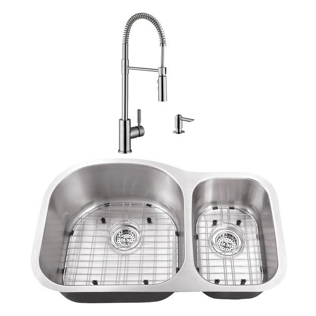 CAHABA CASC0065 32 INCH 16 GAUGE STAINLESS STEEL DOUBLE BOWL 70/30 KITCHEN  SINK WITH PULL DOWN INDUSTRIAL STYLE KITCHEN FAUCET AND SOAP DISPENSER