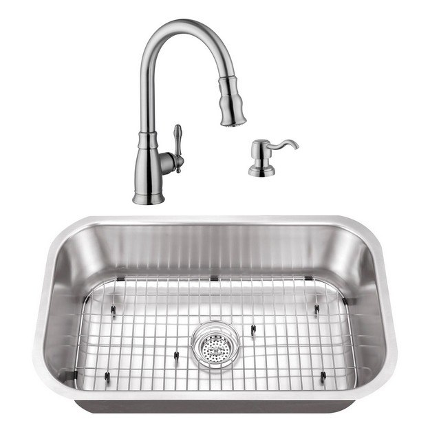 CAHABA CASC0071 30 INCH 16 GAUGE STAINLESS STEEL SINGLE BOWL KITCHEN SINK WITH GOOSENECK PULL OUT KITCHEN FAUCET AND SOAP DISPENSER