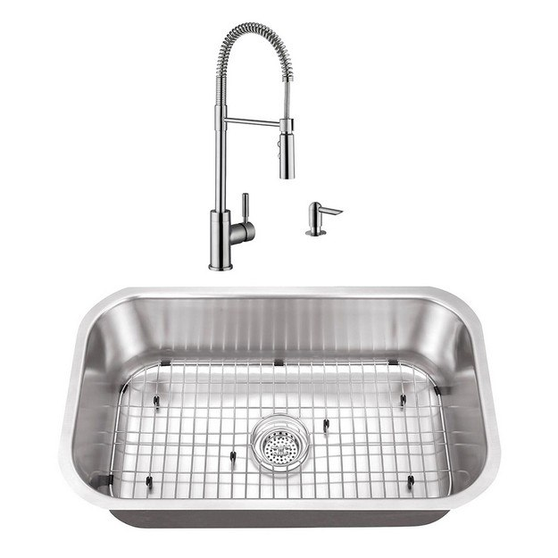 CAHABA CASC0073 30 INCH 16 GAUGE STAINLESS STEEL SINGLE BOWL KITCHEN SINK WITH WITH PULL DOWN INDUSTRIAL STYLE KITCHEN FAUCET AND SOAP DISPENSER