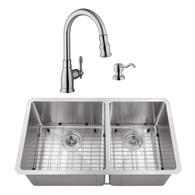 CAHABA CASC0075 32 INCH 16 GAUGE STAINLESS STEEL HANDMADE 60/40 KITCHEN SINK WITH GOOSENECK PULL OUT KITCHEN FAUCET AND SOAP DISPENSER