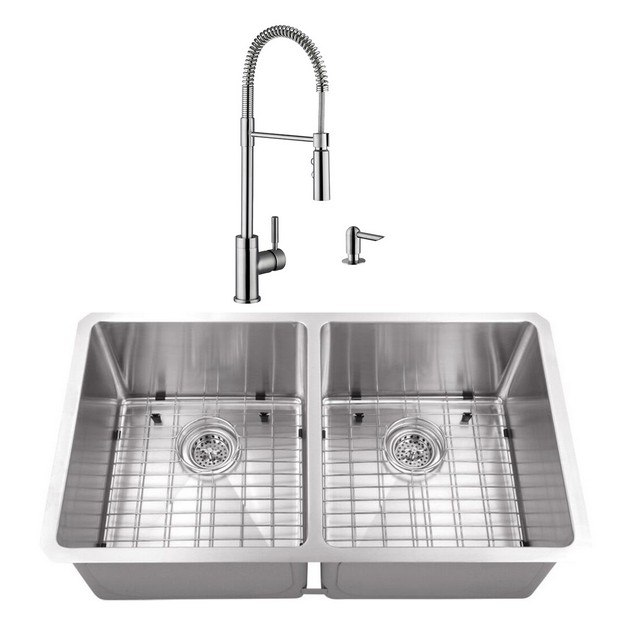CAHABA CASC0081 32 INCH 16 GAUGE STAINLESS STEEL HANDMADE 50/50 KITCHEN SINK WITH PULL DOWN INDUSTRIAL STYLE KITCHEN FAUCET AND SOAP DISPENSER