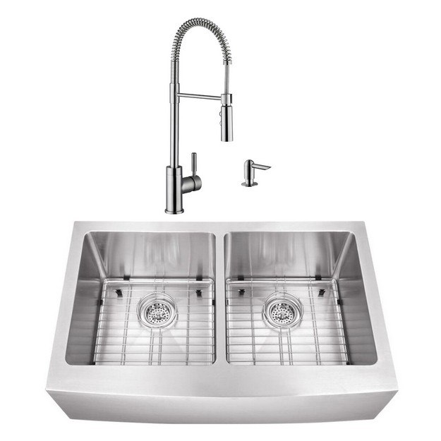 CAHABA CASC0103 33 INCH 16 GAUGE STAINLESS STEEL APRON FRONT FARMHOUSE 50/50 KITCHEN SINK WITH PULL DOWN INDUSTRIAL STYLE KITCHEN FAUCET AND SOAP DISPENSER