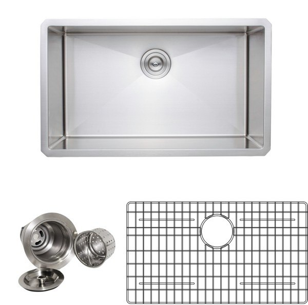 WELLS SINKWARE NCU3018-10-1 NEW CHEF'S COLLECTION HANDCRAFTED 30 INCH 16 GAUGE UNDERMOUNT SINGLE BOWL STAINLESS STEEL KITCHEN SINK PACKAGE