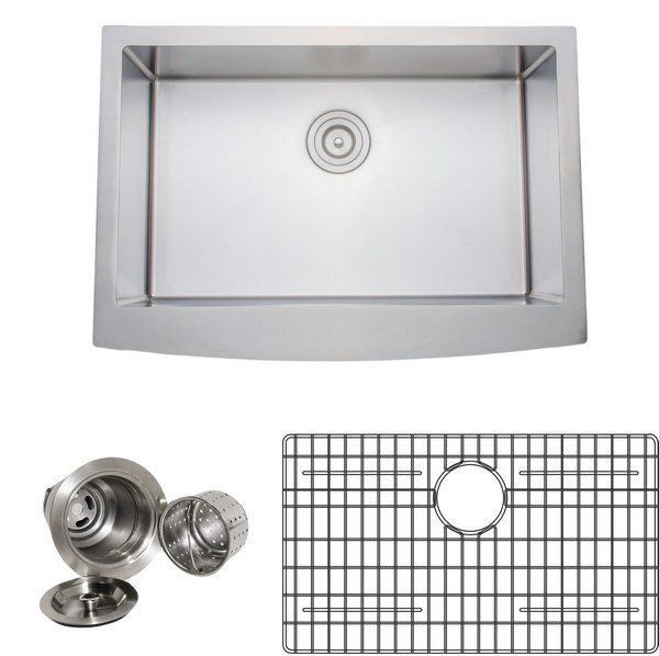 Wells Sinkware NCU3021-10-AAP-1 New Chef's Collection Handcrafted 30 Inch 16-gauge Undermount Single Bowl Stainless Steel Kitchen Sink Package with Arched Apron Front