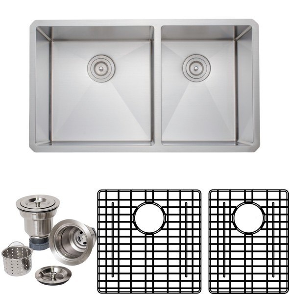 WELLS SINKWARE NCU3319-10L-1 NEW CHEF'S COLLECTION HANDCRAFTED 33 INCH 16 GAUGE UNDERMOUNT 60-40 DOUBLE BOWL STAINLESS STEEL KITCHEN SINK PACKAGE