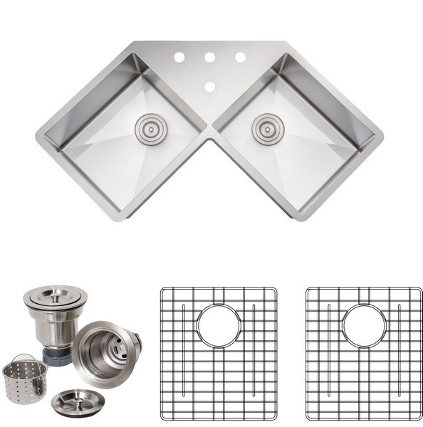 Wells Sinkware NCU3333-1010-BF-1 New Chef's Collection Handcrafted 46 Inch 16-gauge Undermount Butterfly Equal Double Bowl Stainless Steel Corner Kitchen Sink Package