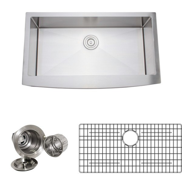 Wells Sinkware NCU3621-10-AAP-1 Wells Sinkware New Chef's Collection Handcrafted 36 Inch 16-gauge Undermount Single Bowl Stainless Steel Kitchen Sink Package with Arched Apron Front
