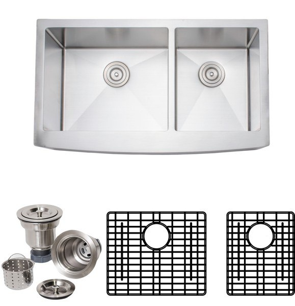 Wells Sinkware NCU3621-10L-AAP-1 New Chef's Collection Handcrafted 36 Inch 16-gauge Undermount 60-40 Double Bowl Stainless Steel Kitchen Sink Package with Arched Apron Front