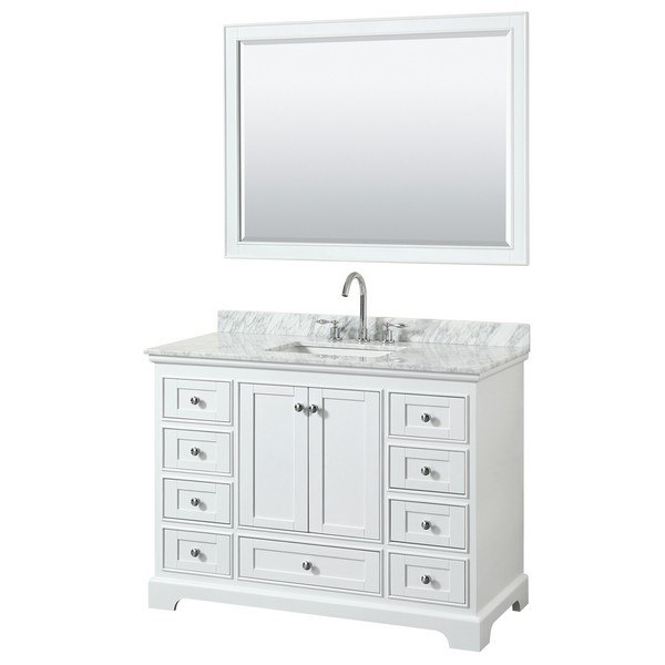 Wyndham Collection Wcs202048swhcmunsm46 Deborah 48 Inch Single Bathroom Vanity In White With Countertop Sink And 46