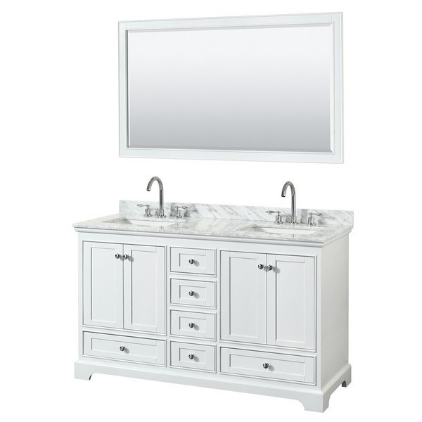 Wyndham Collection Wcs202060dwhcmunsm58 Deborah 60 Inch Double Bathroom Vanity In White With Countertop Sink And 58