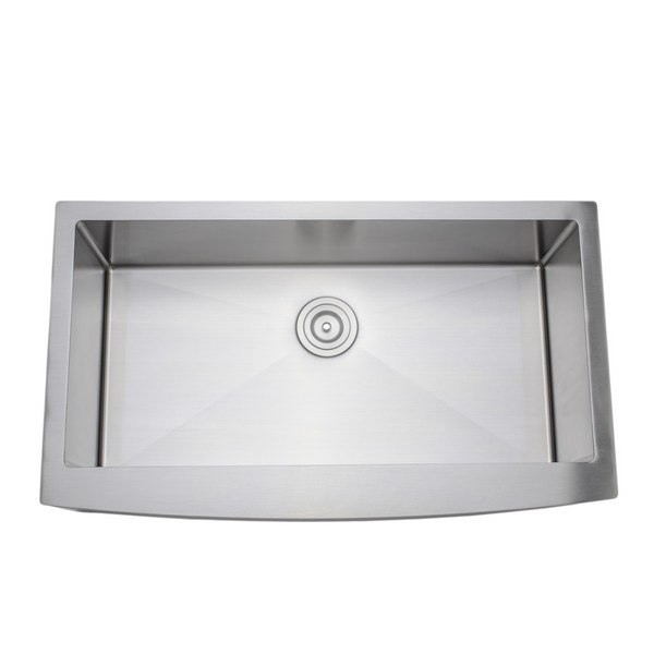 Wells Sinkware NCU3621-10-AAP New Chef's Collection Handcrafted 36 Inch 16-gauge Undermount Single Bowl Stainless Steel Kitchen Sink with Arched Apron Front