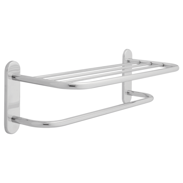 DELTA 43024 BRASS 24 INCH TOWEL SHELF WITH ONE BAR, CONCEALED MOUNTING - POLISHED CHROME