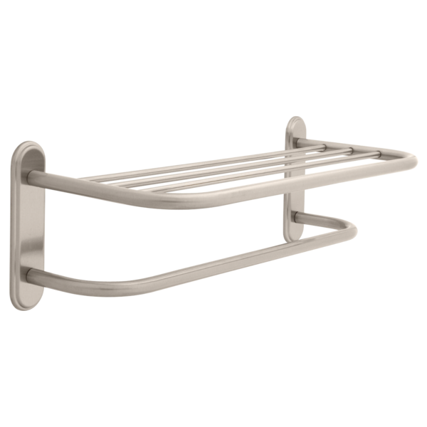 DELTA 43224-SN DELTA 24 INCH BRASS TOWEL SHELF WITH BRASS STEP STYLE BEVELED FLANGES AND ONE BAR, CONCEALED MOUNTING IN SATIN NICKEL