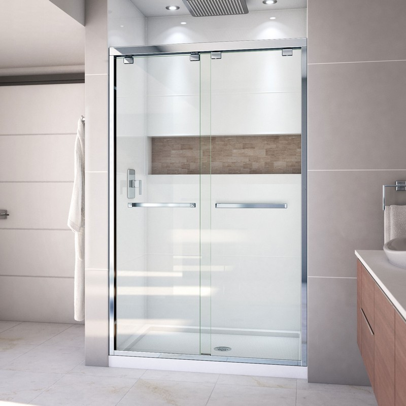 DREAMLINE DL-7002C ENCORE 36 X 48 INCH BYPASS SHOWER DOOR WITH CENTER DRAIN AND BASE KIT