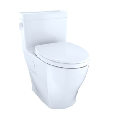 TOTO MS624124CEFG LEGATO ONE-PIECE ELONGATED 1.28 GPF UNIVERSAL HEIGHT TOILET WITH CEFIONTECT AND SS124 SEAT