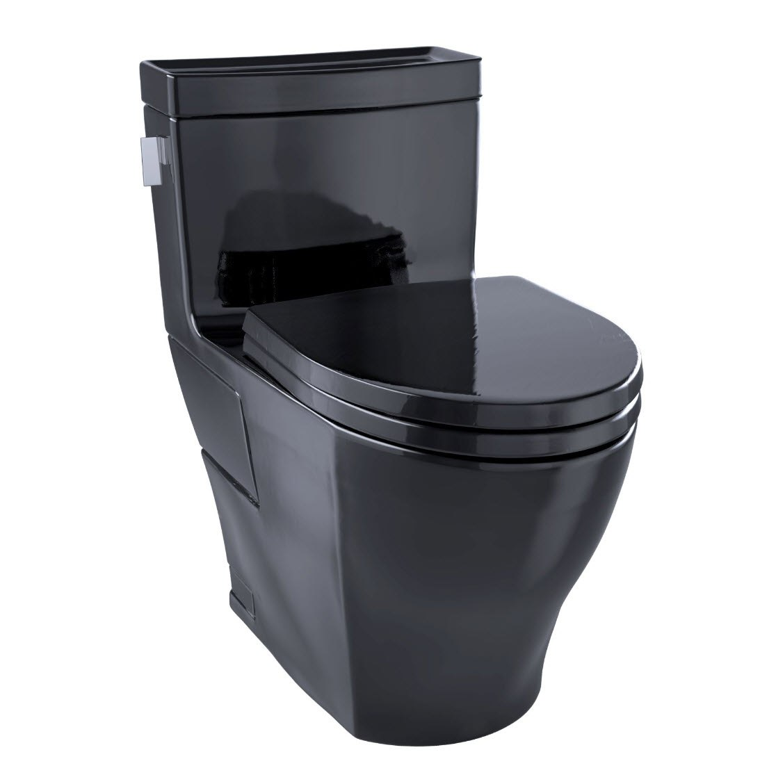 TOTO MS624124CEF#51 LEGATO ONE-PIECE ELONGATED 1.28 GPF UNIVERSAL HEIGHT TOILET WITH SS124 SEAT IN EBONY