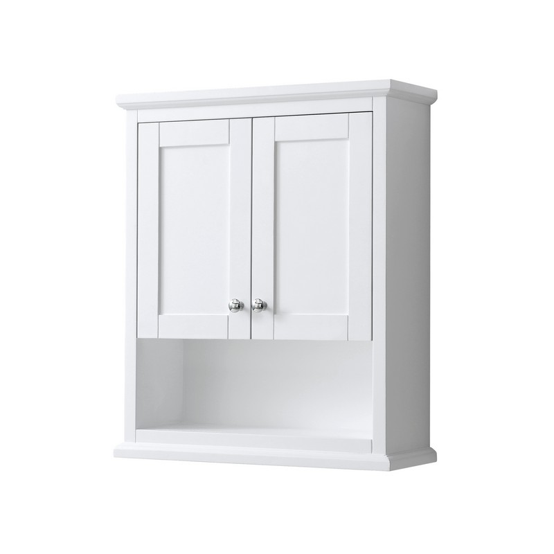 WYNDHAM COLLECTION WCV2323WCWH AVERY 25 INCH WALL-MOUNTED BATHROOM STORAGE CABINET IN WHITE