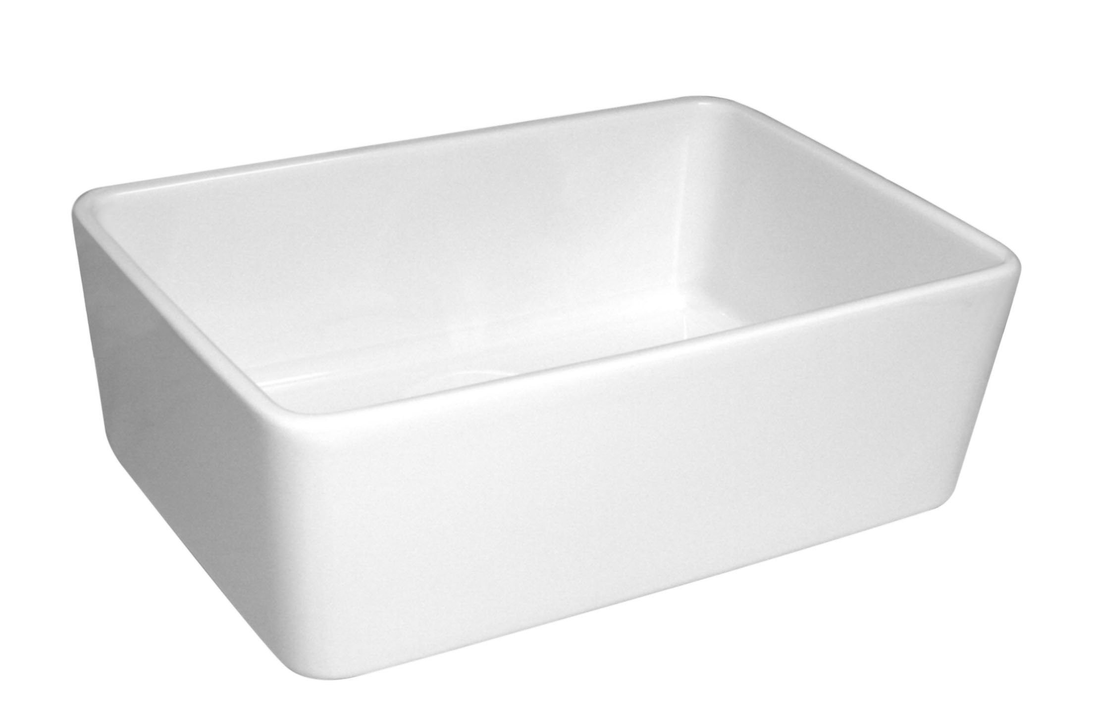WHITEHAUS WHB5033 BASICHAUS 23.5 INCH SINGLE BOWL FIRECLAY SINK W/ A SMOOTH FRONT APRON