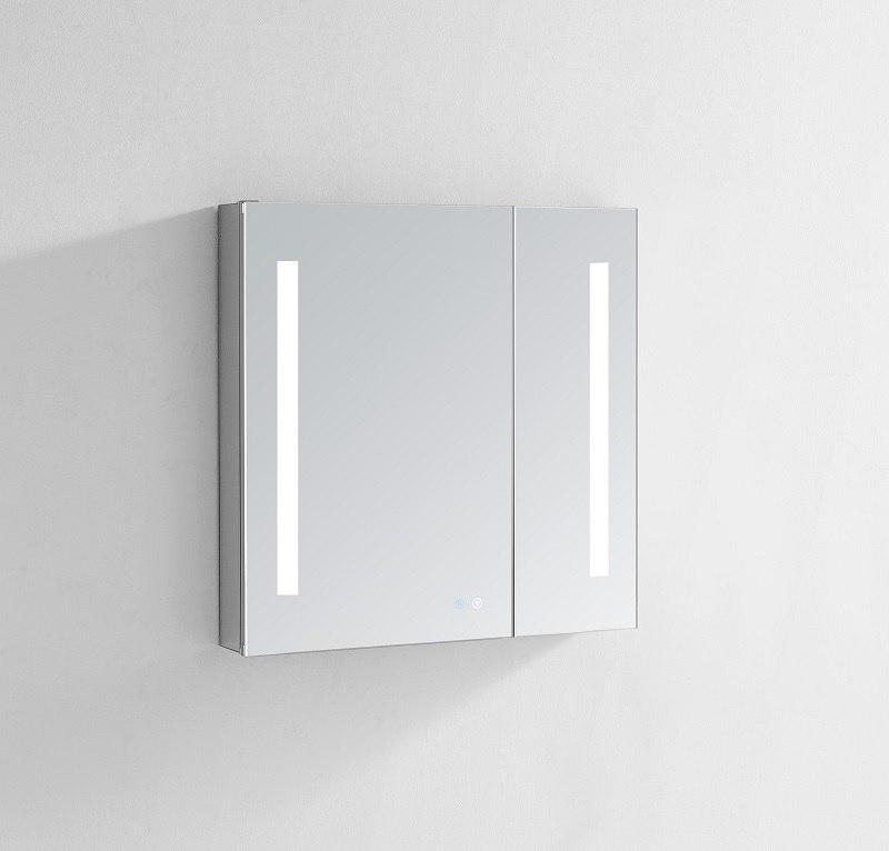 AQUADOM SR-3640 SIGNATURE ROYALE 36 X 40 LED LIGHTED MIRROR GLASS MEDICINE CABINET FOR BATHROOM, 3D COLOR TEMPERATURE LIGHTS, CLOCK, DEFOGGER, DIMMER
