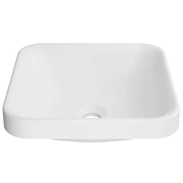 Kraus Ksr 9mw Natura White Square Semi Recessed Composite Bathroom Sink