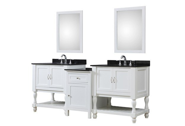DIRECT VANITY SINK 2S10-WBK-MU1 TURNLEG SPA 83 INCH BATH AND MAKEUP HYBRID VANITY IN WHITE WITH GRANITE VANITY TOP IN BLACK WITH BASIN AND MIRRORS