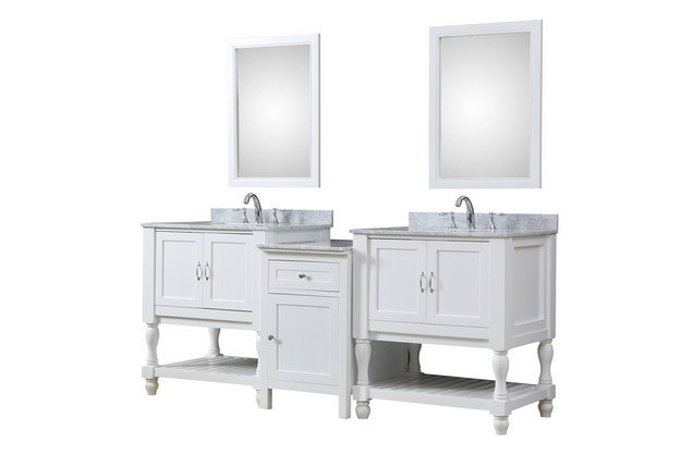 DIRECT VANITY SINK 2S10-WWC-MU1 TURNLEG SPA 83 INCH BATH AND MAKEUP HYBRID VANITY IN WHITE WITH MARBLE VANITY TOP IN CARRARA WHITE WITH BASIN AND MIRRORS