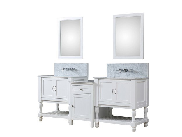 DIRECT VANITY SINK 2S10-WWC-WM-MU1 TURNLEG SPA PREMIUM 83 INCH BATH AND MAKEUP HYBRID VANITY IN WHITE WITH MARBLE VANITY TOP IN CARRARA WHITE WITH BASIN AND MIRRORS