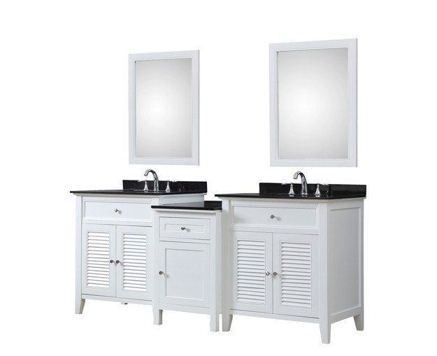 DIRECT VANITY SINK 2S12-WBK-MU1 SHUTTER SPA 82 INCH BATH AND MAKEUP HYBRID VANITY IN WHITE WITH GRANITE VANITY TOP IN BLACK WITH BASIN AND MIRRORS