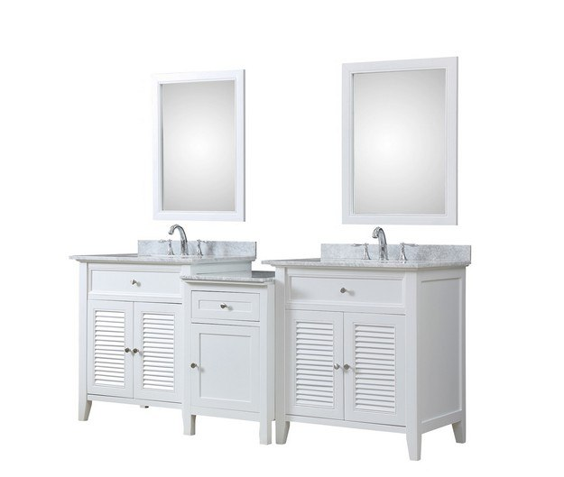 DIRECT VANITY SINK 2S12-WWC-MU1 SHUTTER SPA 82 INCH BATH AND MAKEUP HYBRID VANITY IN WHITE WITH MARBLE VANITY TOP IN CARRARA WHITE WITH BASIN AND MIRRORS