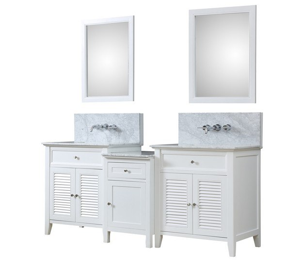 DIRECT VANITY SINK 2S12-WWC-WM-MU1 SHUTTER SPA PREMIUM 82 INCH BATH AND MAKEUP HYBRID VANITY IN WHITE WITH MARBLE VANITY TOP IN CARRARA WHITE WITH BASIN AND MIRRORS