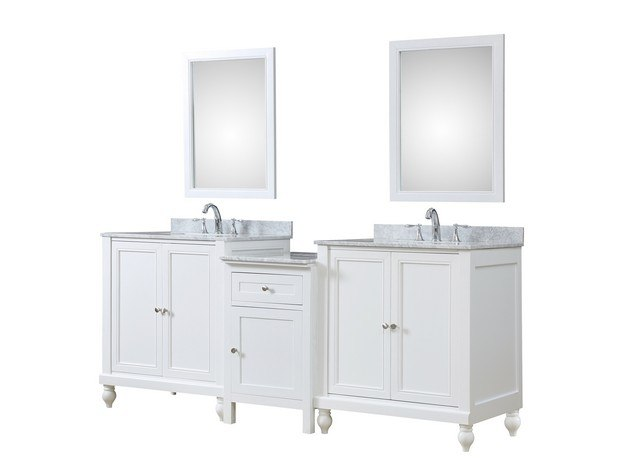 DIRECT VANITY SINK 2S9-WWC-MU1 CLASSIC SPA 83 INCH BATH AND MAKEUP HYBRID VANITY IN WHITE WITH MARBLE VANITY TOP IN CARRARA WHITE WITH BASIN AND MIRRORS