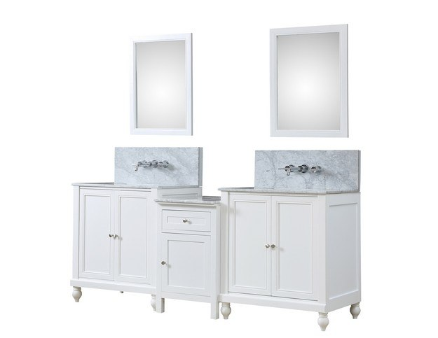 DIRECT VANITY SINK 2S9-WWC-WM-MU1 CLASSIC SPA PREMIUM 83 INCH BATH AND MAKEUP HYBRID VANITY IN WHITE WITH MARBLE VANITY TOP IN CARRARA WHITE WITH BASIN AND MIRRORS