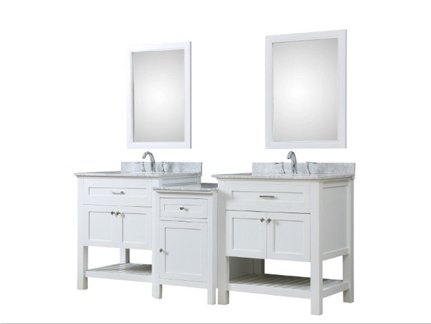 DIRECT VANITY SINK 2S8-WWC-MU1 PRESWICK SPA 82 INCH BATH AND MAKEUP HYBRID VANITY IN WHITE WITH MARBLE VANITY TOP IN CARRARA WHITE WITH BASIN AND MIRRORS
