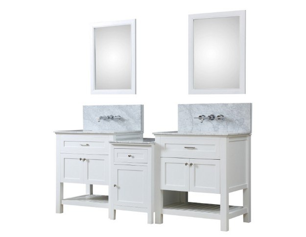 DIRECT VANITY SINK 2S8-WWC-WM-MU1 PRESWICK SPA PREMIUM 82 INCH BATH AND MAKEUP HYBRID VANITY IN WHITE WITH MARBLE VANITY TOP IN CARRARA WHITE WITH BASIN AND MIRRORS