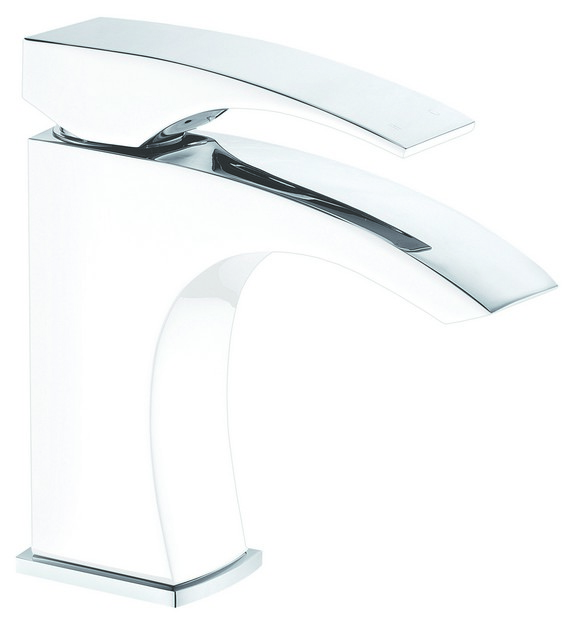 DAWN AB77 1586CPW SINGLE-LEVER LAVATORY FAUCET IN CHROME & WHITE
