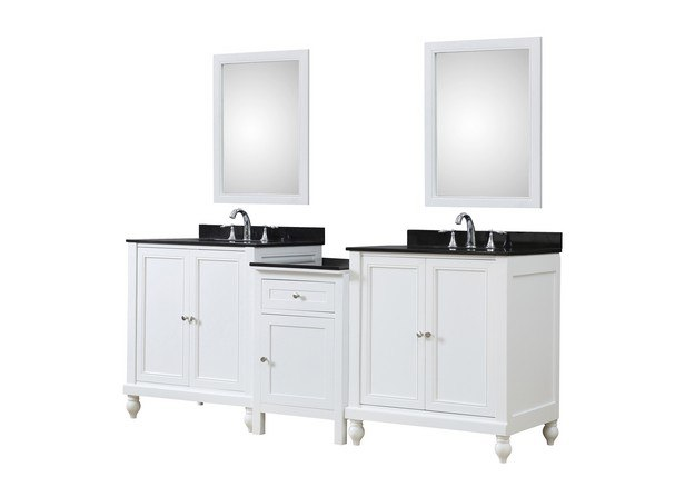 DIRECT VANITY SINK 2S9-WBK-MU1 CLASSIC SPA 83 INCH BATH AND MAKEUP HYBRID VANITY IN WHITE WITH GRANITE VANITY TOP IN BLACK WITH BASIN AND MIRRORS