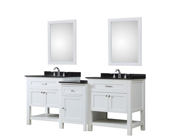 DIRECT VANITY SINK 2S8-WBK-MU1 PRESWICK SPA 82 INCH BATH AND MAKEUP HYBRID VANITY IN WHITE WITH GRANITE VANITY TOP IN BLACK WITH BASIN AND MIRRORS