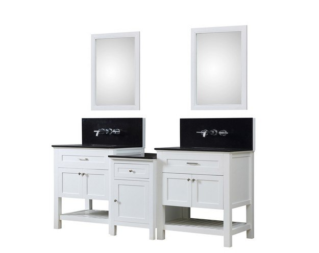 DIRECT VANITY SINK 2S8-WBK-WM-MU1 PRESWICK SPA PREMIUM 82 INCH BATH AND MAKEUP HYBRID VANITY IN WHITE WITH GRANITE VANITY TOP IN BLACK WITH BASIN AND MIRRORS
