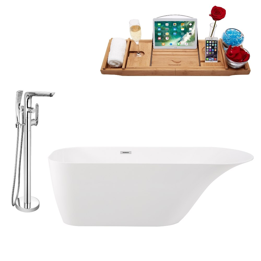 STREAMLINE KH93-120 67 INCH FREESTANDING TUB AND TRAY SET WITH FAUCET H-120-TFMSHCH