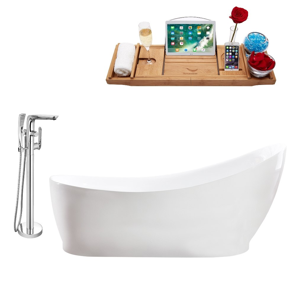 STREAMLINE MH2140-120 68 INCH FREESTANDING TUB AND TRAY SET WITH FAUCET H-120-TFMSHCH
