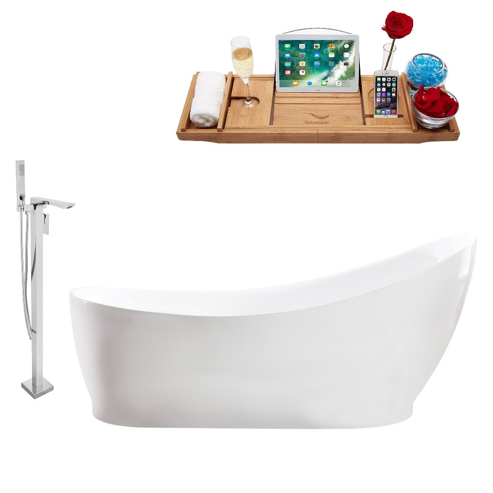 STREAMLINE MH2140-140 68 INCH FREESTANDING TUB AND TRAY SET WITH FAUCET H-140-TFMSHCH