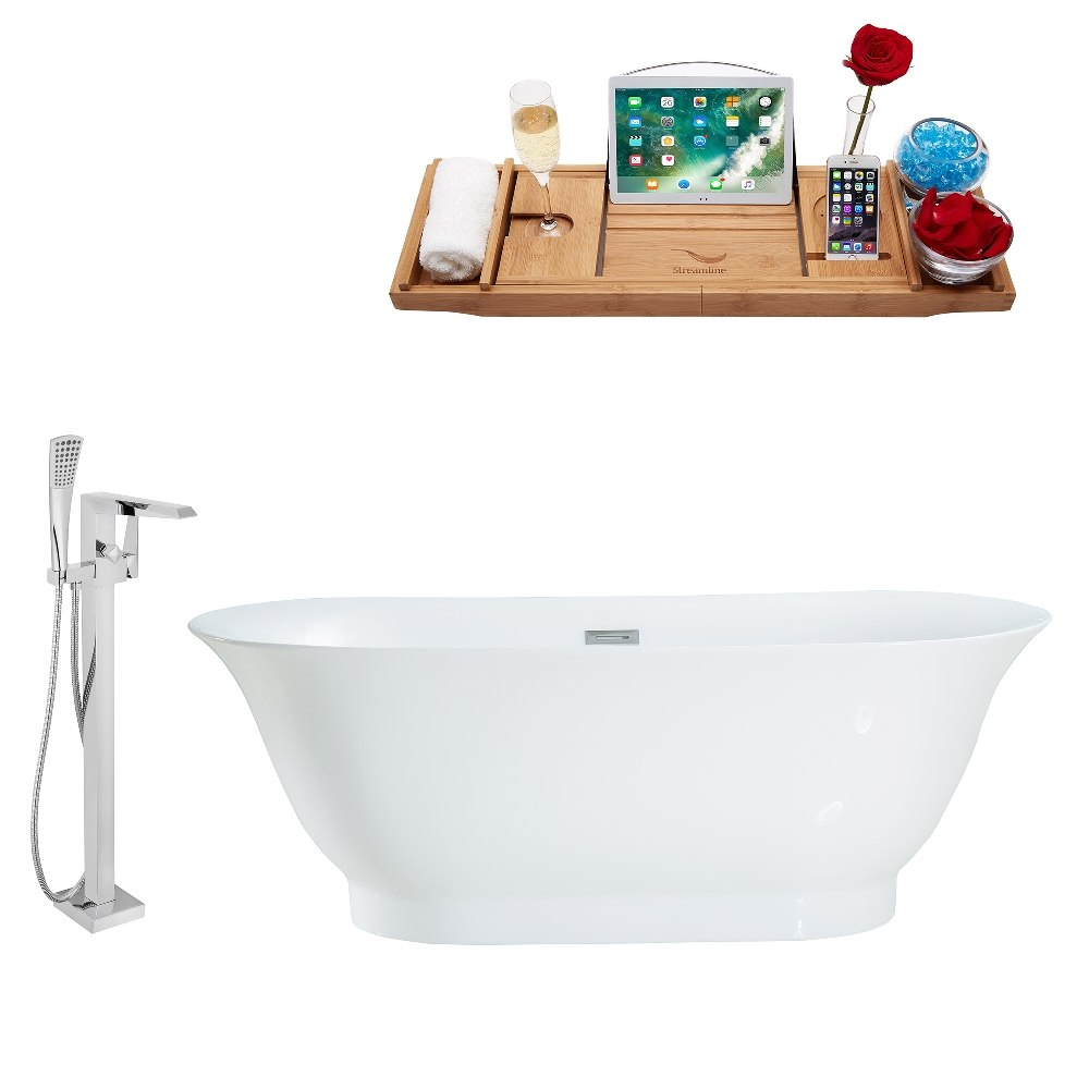 STREAMLINE MH2440-100 67 INCH FREESTANDING TUB AND TRAY SET WITH FAUCET H-100-TFMSHCH