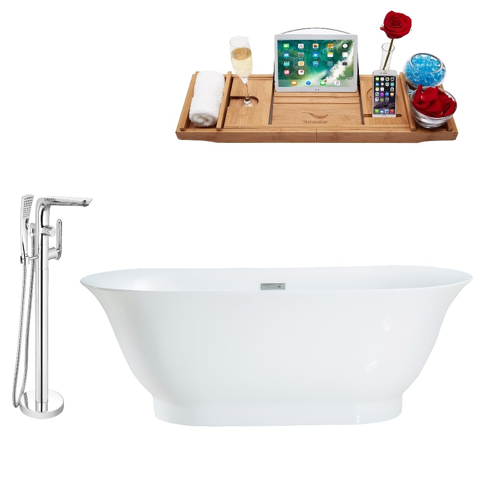 STREAMLINE MH2440-120 67 INCH FREESTANDING TUB AND TRAY SET WITH FAUCET H-120-TFMSHCH