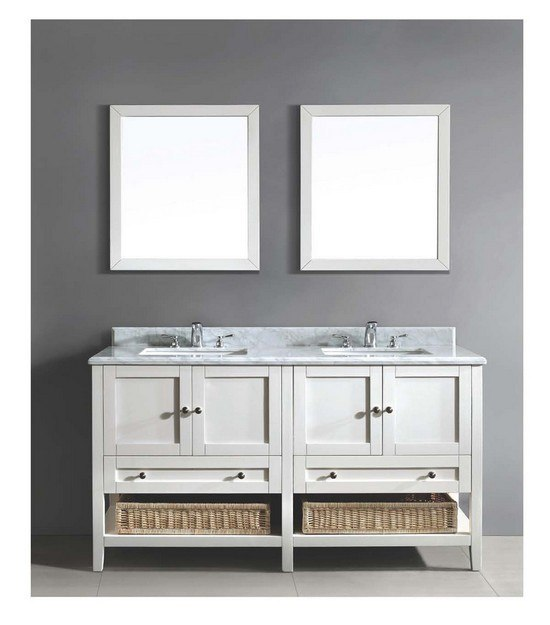 DAWN AACCS-6001 61 INCH FREE STANDING DOUBLE VANITY SET IN WHITE