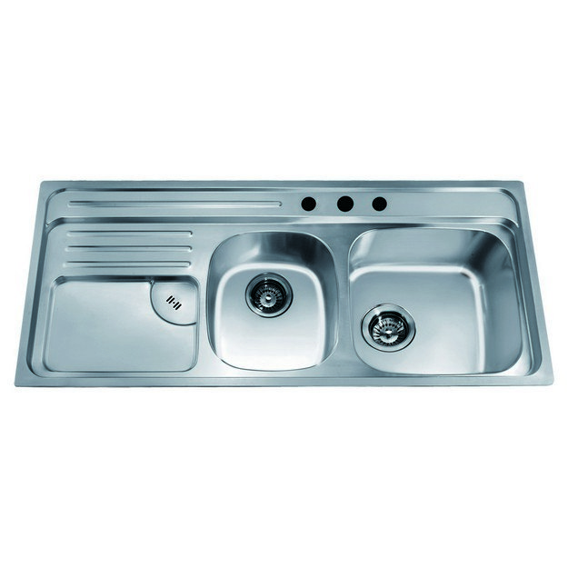 Dawn Ch366 45 Inch Top Mount Double Bowl Sink With Integral Drain Board And Three Pre Cut Faucet Holes Large Bowl