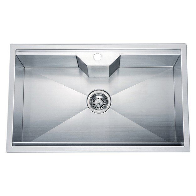 DAWN DSQ2817 30 INCH DUAL MOUNT SINGLE BOWL SQUARE SINK WITH ONE PRE-CUT FAUCET HOLE